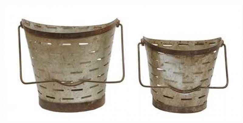Metal bucket - Round with Handle - Small - Bloom'n Things, LLC