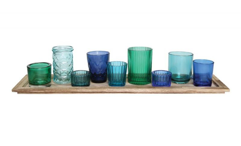 Wood Tray with votive Holders - Blue (10) Piece Set - Bloom'n Things, LLC