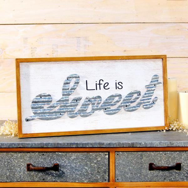 """Life is Sweet"" Wood & Tin Sign - Bloom'n Things"