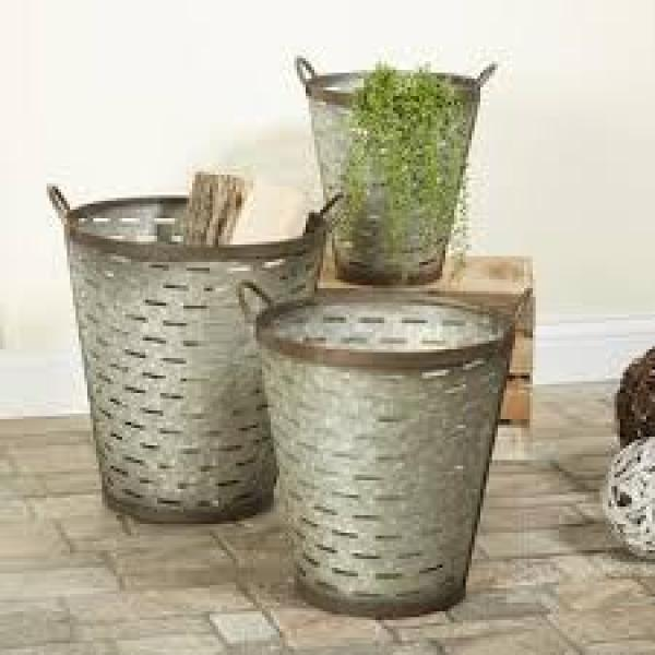 Iron Olive Buckets w/ Handle - Medium Size - Bloom'n Things