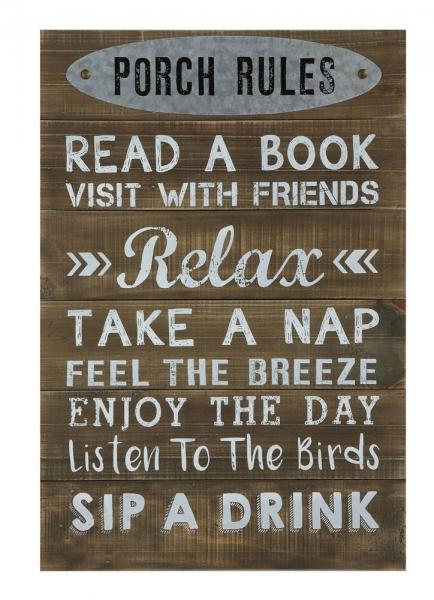 "16-1/2""L x 24""H Wood ""Porch Rules"" Wall Décor - Bloom'n Things"