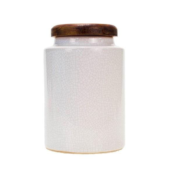 White Canister with Wooden Lid - Bloom'n Things