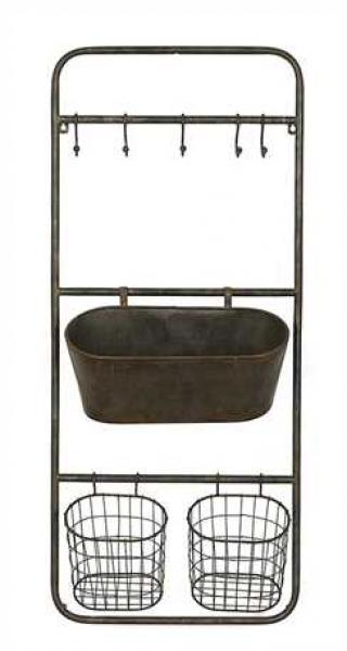 Metal Organizer with 2 baskets & 1 bin and 5 hooks - Black - Bloom'n Things