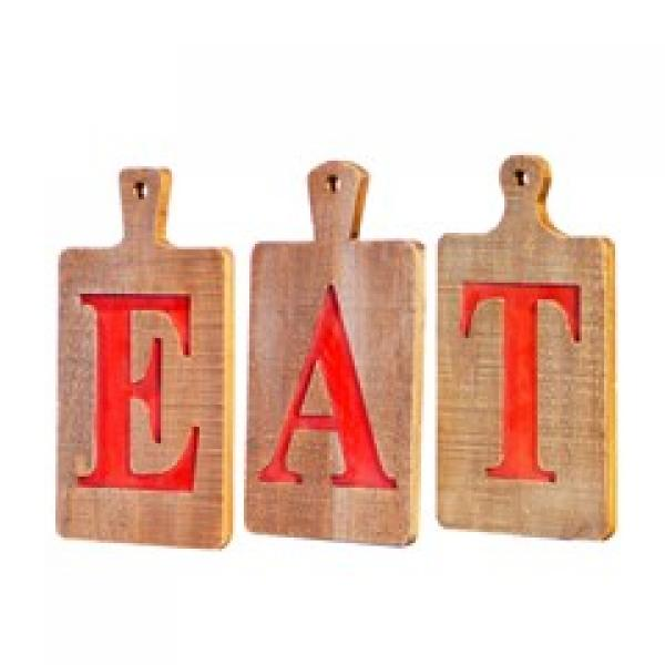 """EAT"" Letters on Cutting Board - Individual Letters - Bloom'n Things (8931412553)"
