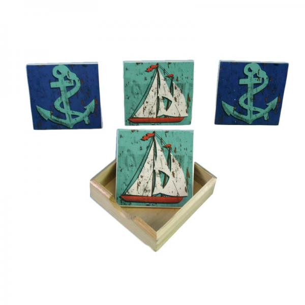 Nautical Coasters with Holder - Sailboat/Anchor - Bloom'n Things, LLC