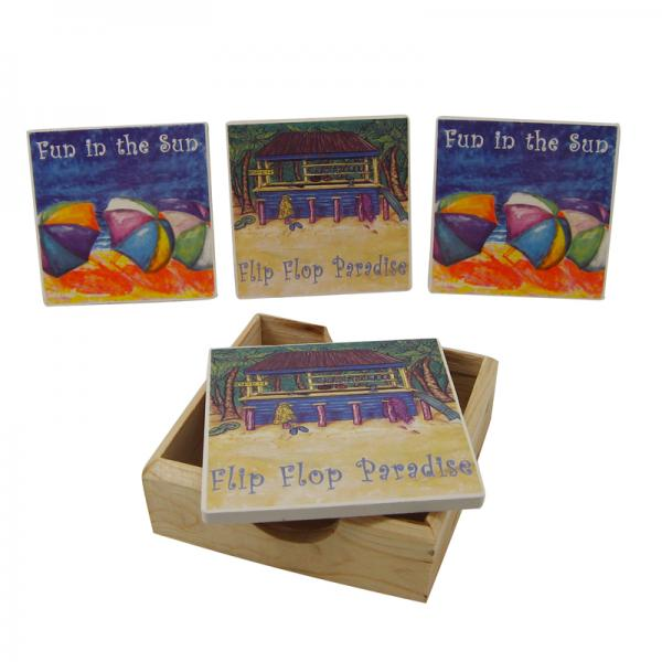 Fun in the Sun Coasters with Holder - Bloom'n Things, LLC