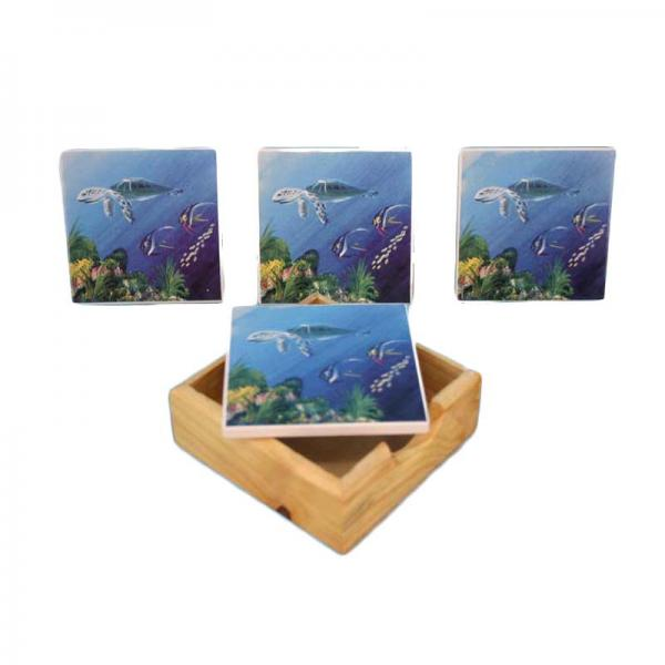 Ocean Scene Coasters with Holder - Turtles - Bloom'n Things, LLC