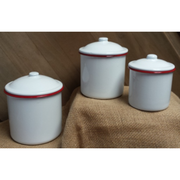 White Enamel Canister Set with red trim