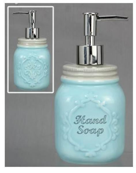 Mason Jar Soap Dispenser - Aqua with cream accents - Bloom'n Things