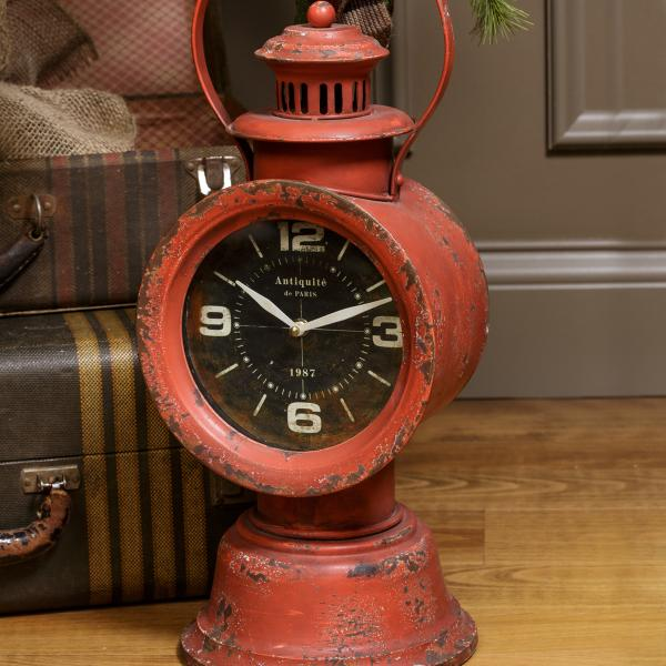 Red Metal Railroad Clock - Bloom'n Things, LLC