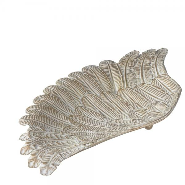 Decorative Feather Wing Tray - Embossed Metal - Bloom'n Things