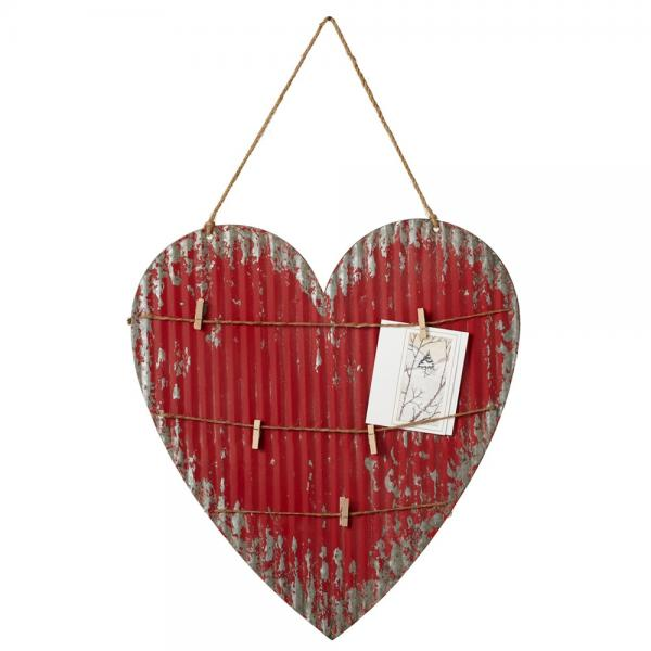 Heart Message Board Wall Decor - Metal with small clothes pins - Bloom'n Things (1357752369233)
