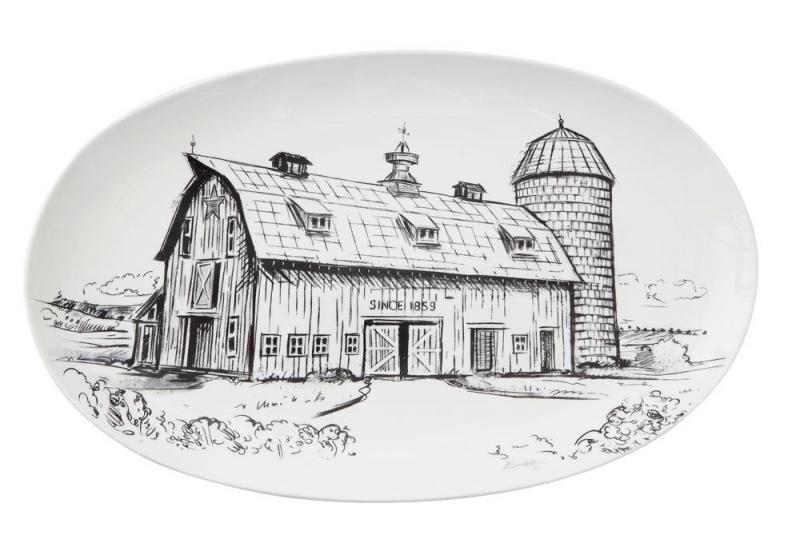 Stoneware Oval Platter with Barn - Black & White - Bloom'n Things, LLC