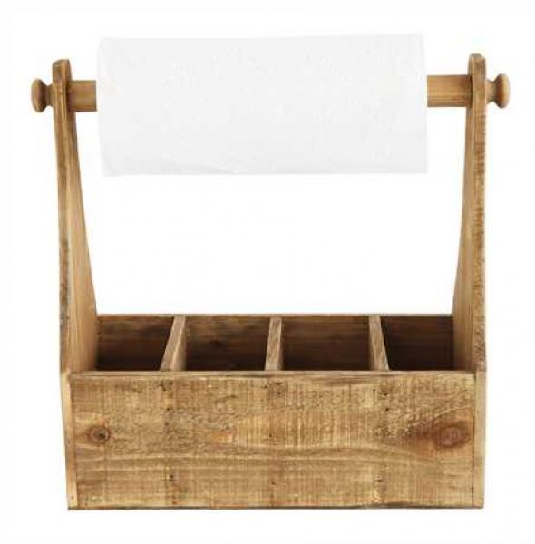 Fir Wood Container with 4 Sections and Paper Towel Holder/Handle - Bloom'n Things