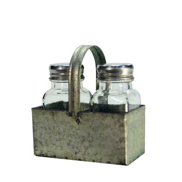 Salt & Pepper Shakers with Metal Holder - Bloom'n Things