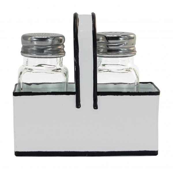 Salt & Pepper Shakers with Enamel Holder - White with Black Trim - Bloom'n Things