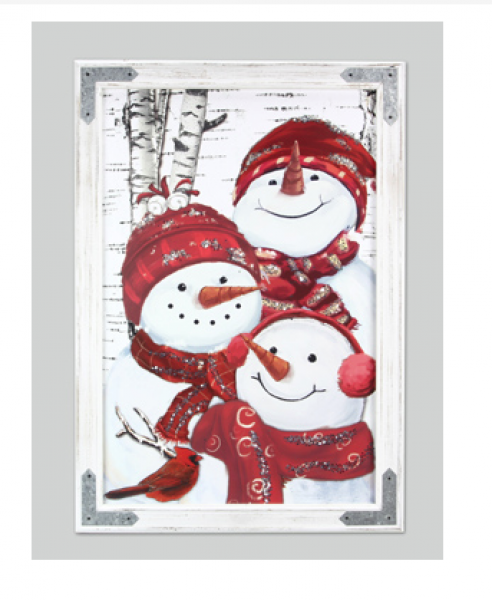 Snowman Family Wall Art - Wood Frame with Metal Accents - Bloom'n Things, LLC