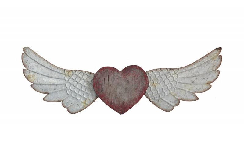 Metal Angel Wings with Wood Heart - Bloom'n Things (1362944131153)