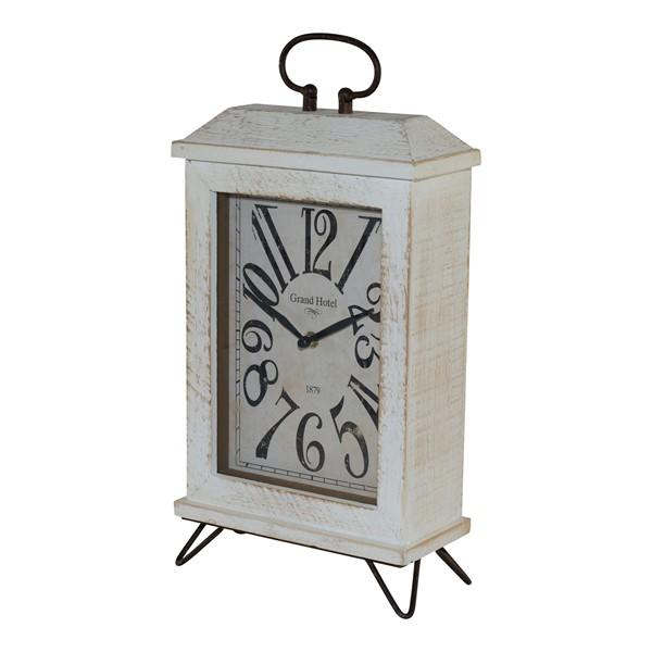 Table Clock - Distressed White with Metal Handle - Bloom'n Things (10403278921)