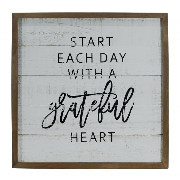 """Start Each Day with a Grateful Heart"" Wood Framed Wall Art - Bloom'n Things (1362338054225)"