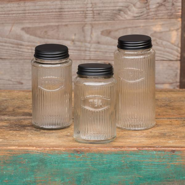 Glass Coffee, Tea & Sugar Canister Set - Three Pieces - Bloom'n Things (1360757325905)