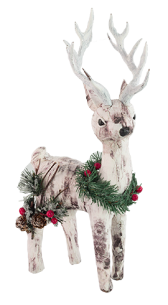 Paper Birch Deer with Pine Accents - Looking Right