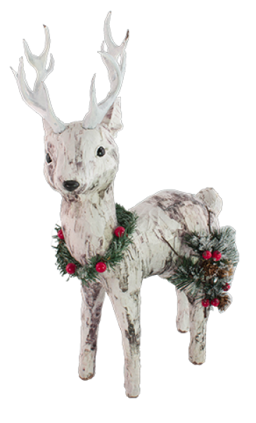 Paper Birch Deer with Pine Accents - Looking Left - Medium - Bloom'n Things