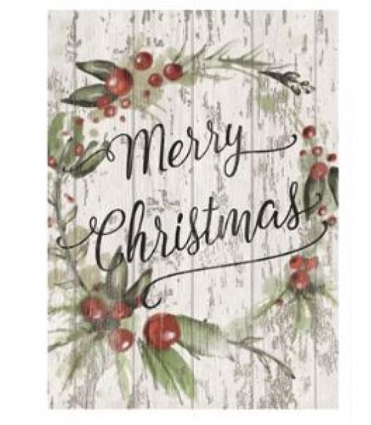 Wooden Merry Christmas Wall Plaque