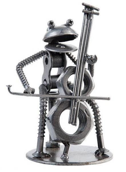 Recycled Art - Metal Frog Cellist