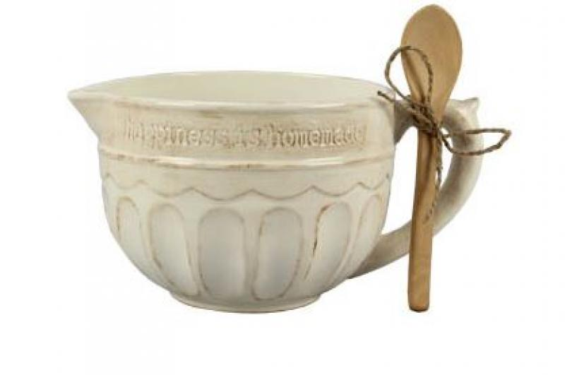 Ceramic Mixing Bowl with Wooden Spoon - Bloom'n Things, LLC
