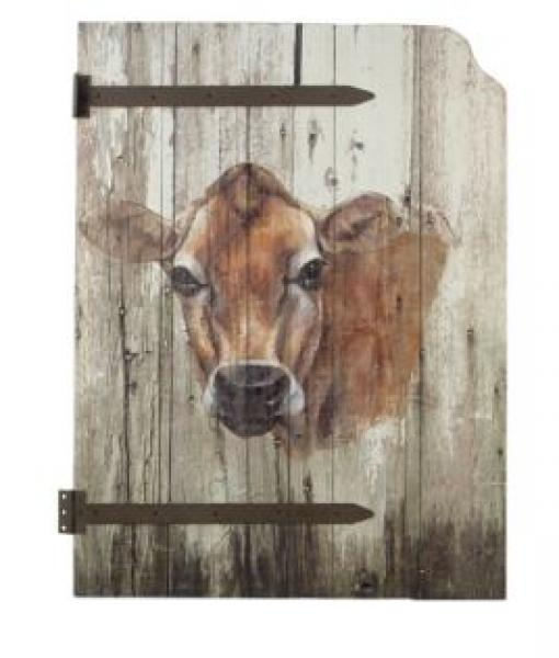 Wood Barn Door with Cow Art - Bloom'n Things (3186118262865)