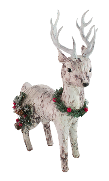 Paper Birch Deer with Pine accents - Looking Right - Medium Size - Bloom'n Things, LLC