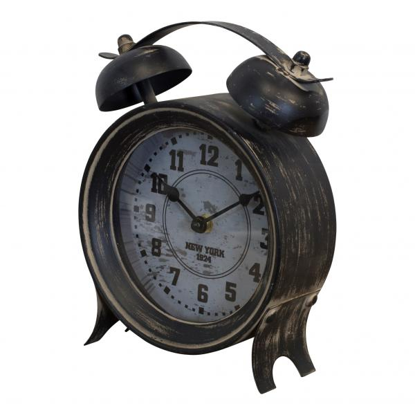 Table Clock - New York 1924 - Distressed Black - Bloom'n Things