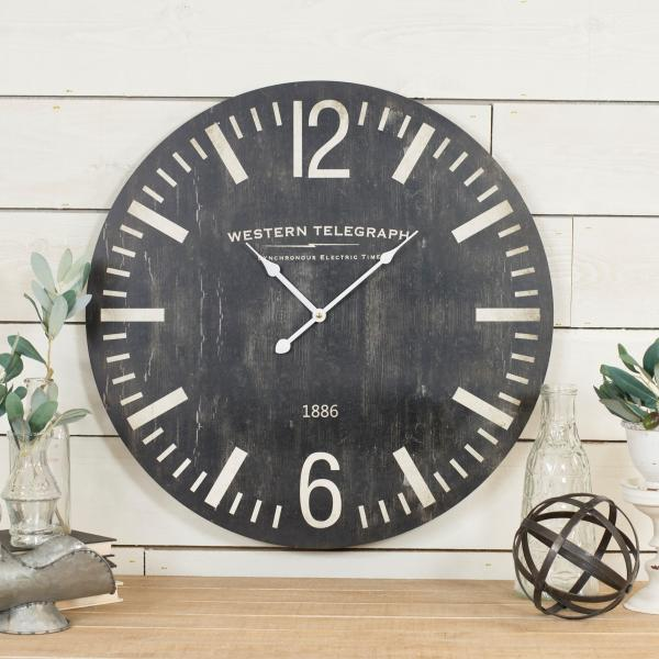 "Western Telegraph Wall Clock - 23"" Diameter - Bloom'n Things, LLC"