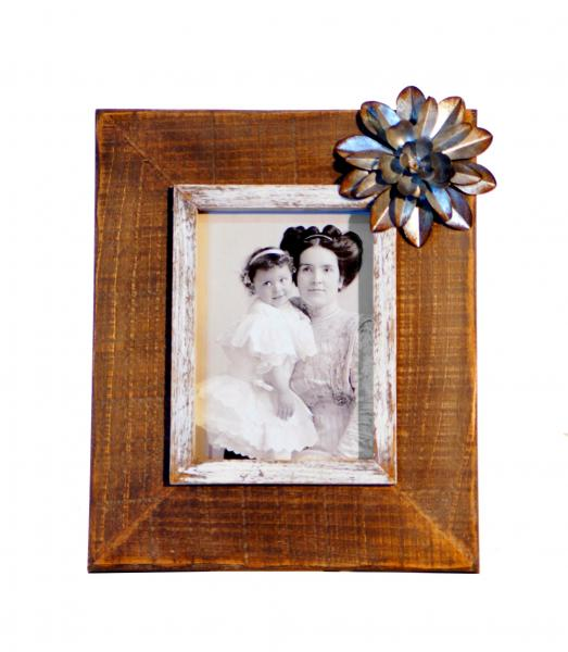 Wood Picture Frame with Metal Flower Accent - Bloom'n Things