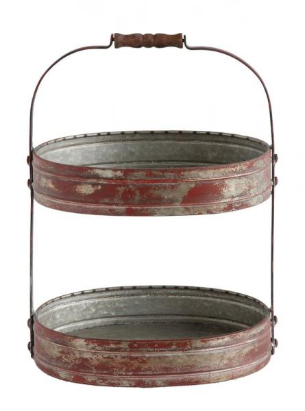 Rustic Two Tiered Red Tray with Wood Handle