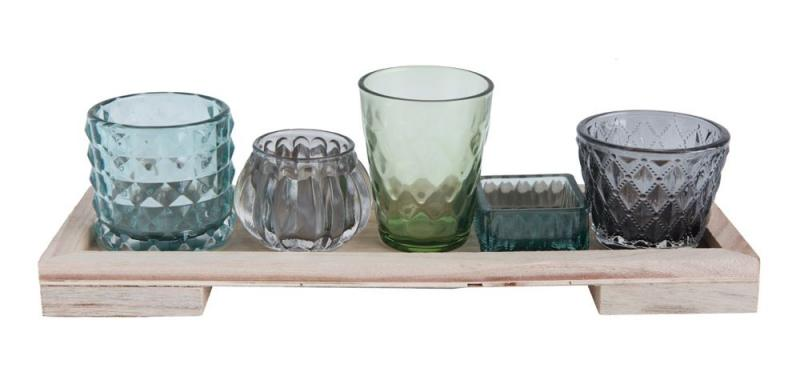 Wood Tray with Votive Holders - Blue/Grey with (5) Votives - Bloom'n Things, LLC