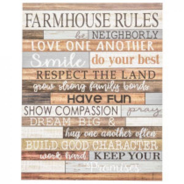 Farmhouse Rules Wall Sign - Bloom'n Things (3027085557841)