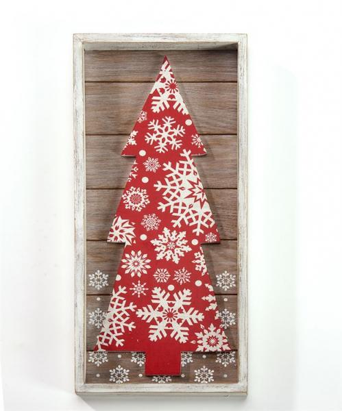 Framed Red Christmas Tree Wall Plaque - Bloom'n Things, LLC