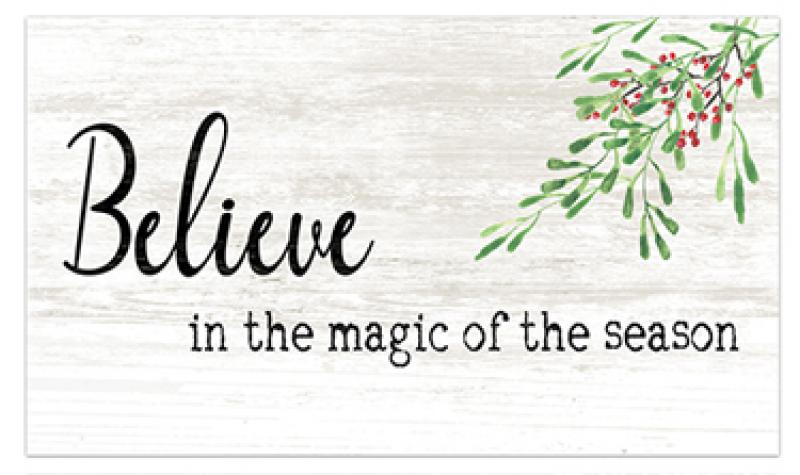Wood Christmas Believe Sign