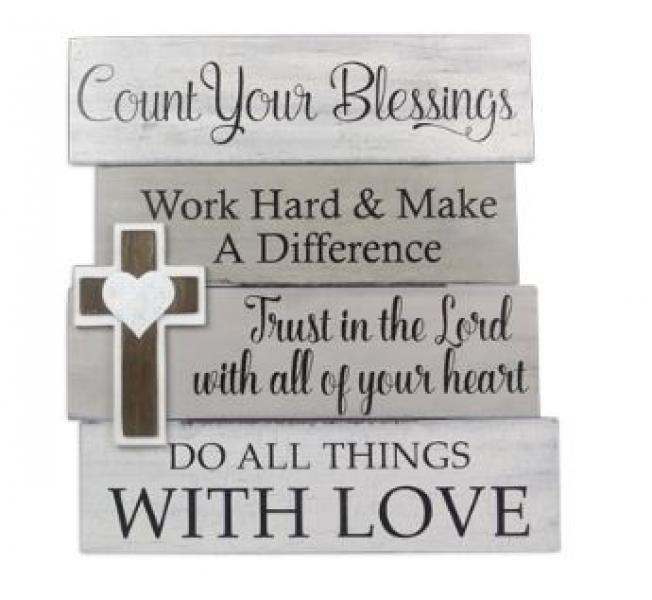 Wood Wall Sign with Cross - Bloom'n Things, LLC