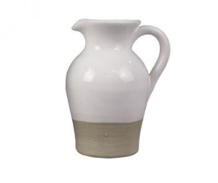 Ceramic White Glazed Pitcher - Bloom'n Things
