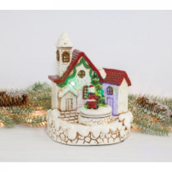 Santa's Holiday Home Tabletop - Lights up and Plays Music - Bloom'n Things, LLC
