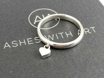 Secrets Heart Charm Memorial Ring With Ashes Or Hair