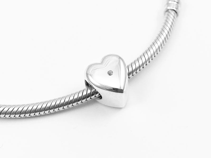 Diamond Secrets Heart Charm Bead Memorial With Ashes or Hair