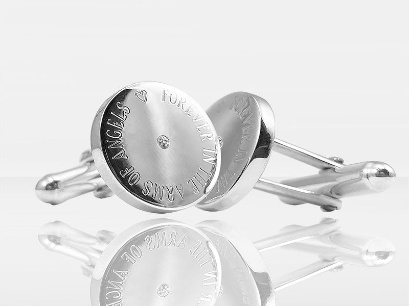 Diamond Secrets Round Memorial Cufflinks With Ashes Or Hair