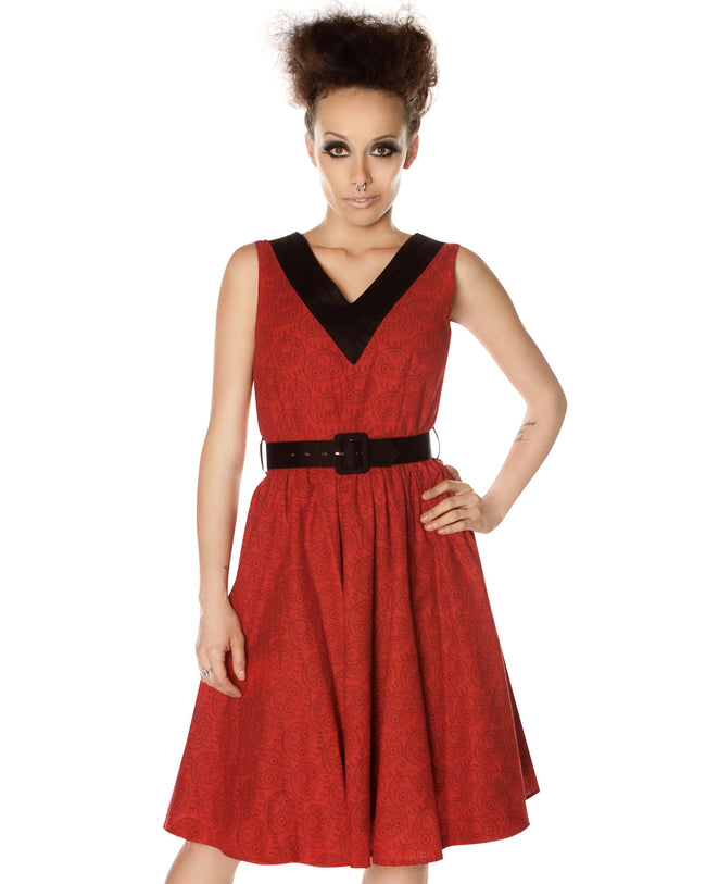 Red Skulls V-Neck Dress *LAST CHANCE*