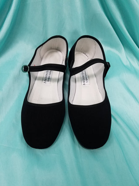 Black Cotton Mary Janes