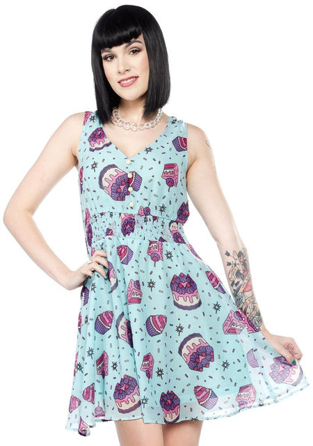 Handmade Neon Aqua Spaghetti Strap Dress with Square Floral Bust