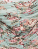 Ella Strapless Dress in Light Blue Floral